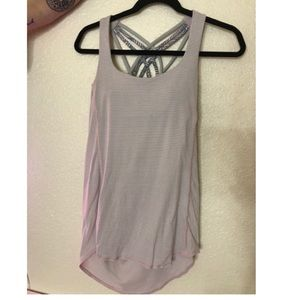 Baby pink and gray stripped lulu lemon top